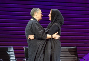 Robi Damelin, Israeli member and spokesperson, Parents Circle – Families Forum, Bushra Awad, Member, Parents Circle - Families Forum  and Tina Brown, Founder, Women in the World and CEO, Tina Brown Live Media at The 2015 Women In The World Summit,  Lincoln Center, New York City; 4/22/2015